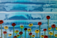 """Blue Sky Red and Yellow Flowers,  Enamel on Canvas,  40""""x30"""""""