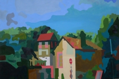 Cat Crossing the Street in Giverny,  Oil on Canvas,  90cm x 90cm