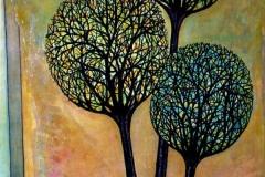 "Crooked Trees,  Enamel on Canvas,  40""x30"""