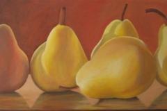 "Golden Moments Pears,  Cyril Seme,  Acrylic on Canvas ,  23""x57"""