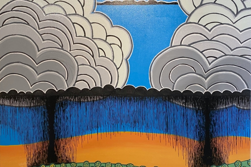 "Lemon Trees,  Enamel/Canvas, 36""x36"""