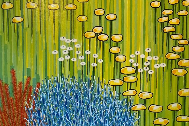 "Blue Bush,  Enamel/Canvas, 36""x36"""