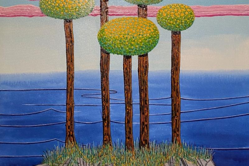 "5 Trees on an Island,  Enamel/Canvas, 40""x30"""
