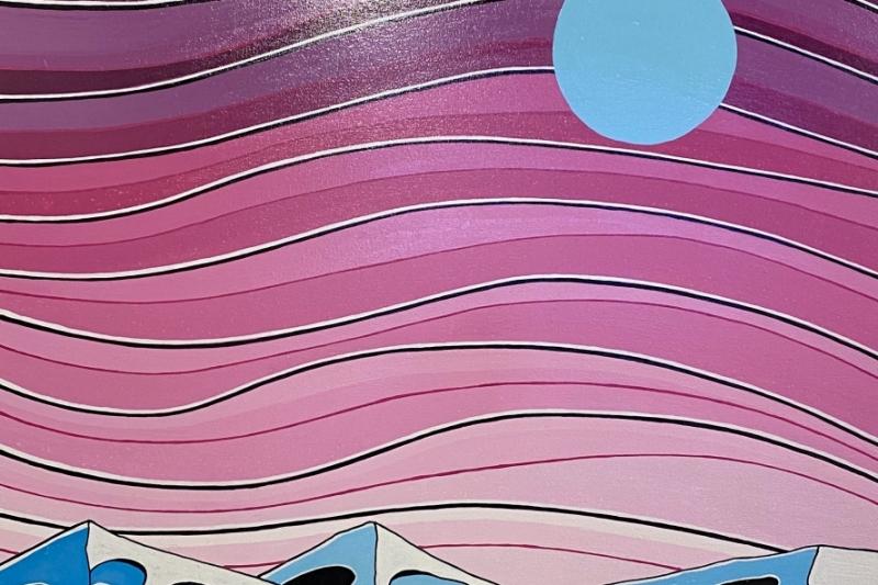 """Blue Moon,  Enamel/Canvas, 40""""x30"""""""