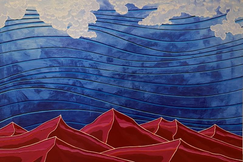 """Maroon Mountains,  Enamel/Canvas, 30""""x40"""""""