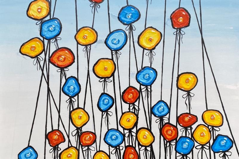 """Balloon Flowers,  Enamel/Canvas, 36""""x36"""""""