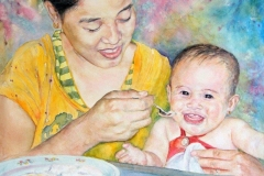 """Mother and Child,  Esmie Gayo McLaren,  Watercolours on Canvas,  30""""x36"""""""