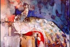 Peacock Morning, Oil on Canvas,  80cm x 80cm