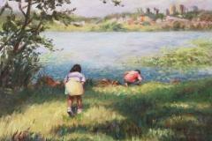 """Sneaking Up,  Esmie Gayo McLaren,  Oil on Canvas,  14""""x18"""""""