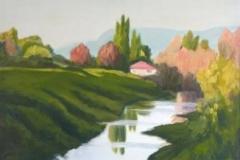 "Steveston Slough VI,  Cyril Seme,  Acrylic on Canvas,  28""x16"""
