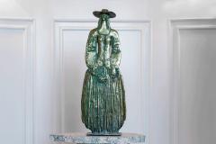 Woman With Flowers,  Bronze/ Marble,  63cm x 46cm x 18cm